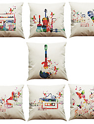Set of 7 Fashion Geometric Music Symbols Pattern Linen  Cushion Cover Home Office Sofa Square  Pillow Case Decorative Cushion Covers Pillowcases