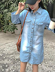 Women's Going out Denim Dress,Solid Shirt Collar Above Knee Long Sleeve Polyester Spring Summer Mid Rise Micro-elastic Medium