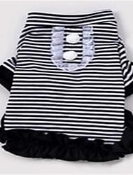 Chien Robe Vêtements pour Chien Printemps/Automne Rayure Mignon Noir Rose