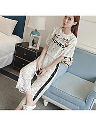 Feminino Blusa Calça Conjuntos Casual SimplesCor Única Decote Redondo
