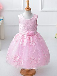 Ball Gown Knee-length Flower Girl Dress - Organza Satin Polyester Sleeveless Jewel with Bow(s) Embroidery Flower(s) Sash / Ribbon Sequins