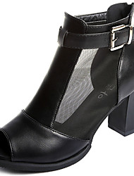 Women's Sandals Club Shoes PU Spring Summer Casual Dress Club Shoes Buckle Zipper Chunky Heel White Black 3in-3 3/4in