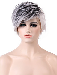 MAYSU Fluffy Black and white Short Hair  Mixed Color Hair   Synthetic Wig Suitable For All Kinds Of People