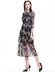 Women's Casual/Daily Sheath Dress,Floral Round Neck Midi ¾ Sleeve Silk Spring Summer Mid Rise Micro-elastic Thin