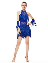 Robes(Noire Bleu Fuchsia Rouge,Elasthanne,Danse latine)Danse latine- pourFemme Cristaux/Stras Frange (s) Spectacle Danse latineTaille