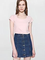 Tee-shirt Femme,Couleur Pleine Sortie Sexy Eté Manches Courtes Col Arrondi Coton Polyester Fin