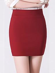 Mujer Tiro Alto Mini Faldas,Corte Bodycon Un Color