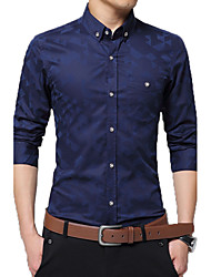 Men's New Fashion Classic Jacquard Weave Slim Fit Long Sleeve Casual Shirt/ Cotton /Plus Size /Office