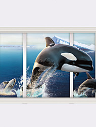 3D Ocean Whale False Window Design 3D Wall Stickers Fashion PVC Living Room Bedroom Wall Stickers