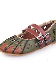 Женские сандалии летние бык туфли из кожзаменителя наружное платье вскользь пряжка застенчивый розовый зеленый бежевый ходьба