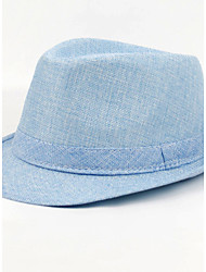 Women Men England Vintage Casual Sunscreen Linen Hat Pure Color Jazz Flat Top Cap