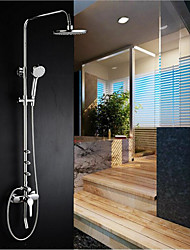 Contemporary Art Deco/Retro Modern Shower System Rain Shower Handshower Included with  Ceramic Valve Two Handles Two Holes for  Chrome  Shower Faucets