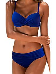 Women's Bandeau Bikini,Solid Polyester