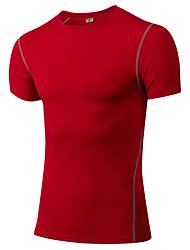 Homme Tee-shirt de Course Couche de Base Manches Courtes Fitness, course et yoga Vêtements de Compression/Sous maillot pour Yoga Exercice