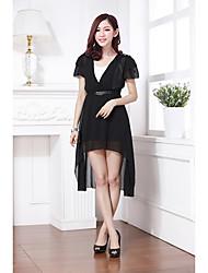 Для женщин На каждый день А-силуэт Платье Контрастных цветов,V-образный вырез Выше колена С короткими рукавамиИскусственный шёлк