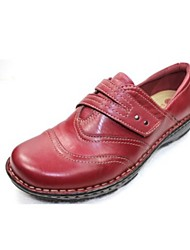 Women's Loafers & Slip-Ons Spring Fall Light Soles Nappa Leather Casual Low Heel Burgundy