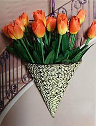 1 Ramo Poliéster Tulipas Flor de Mesa Flores artificiais