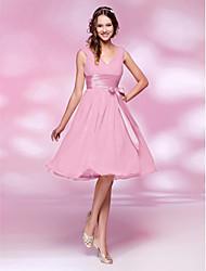 A-Line Princess V-neck Knee Length Chiffon Bridesmaid Dress with Bow(s) Draping Sash / Ribbon Ruching Side Draping by LAN TING BRIDE®