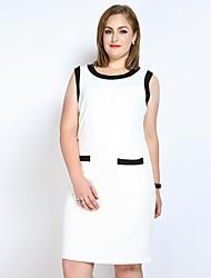 Courte Gaine Tunique Robe Femme Décontracté / Quotidien Soirée / Cocktail Grandes Tailles Sexy simple Mignon,Couleur Pleine MosaïqueCol