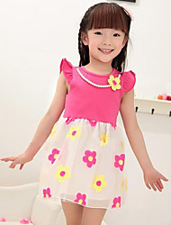 Girl's Cotton Lovely Princess Pearl Sunflower Fly Net Yarn Splicing Sleeve Dress