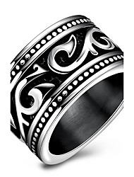 Men's Ring Basic Unique Design Euramerican Fashion Punk Hip-Hop Personalized Rock Titanium Steel Circle Silver Jewelry For Party Anniversary