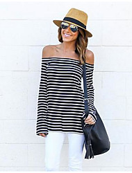 Women's Off Shoulder Casual/Daily Holiday Sexy Street chic Spring Summer T-shirt,Striped Boat Neck Long Sleeve Cotton Medium