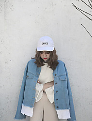 Veste en jean Femme,Couleur Pleine Décontracté / Quotidien simple Automne Manches longues Col Arrondi Normal lin