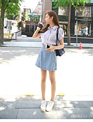 Women's High Rise Above Knee Skirts Bodycon Denim Solid