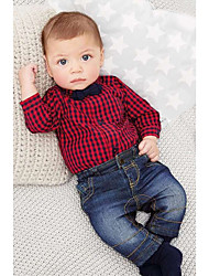 Boys Going out Plaid Jumpsuit Sets Jeans Long Sleeve Shirt Clothing Set Kids Clothes