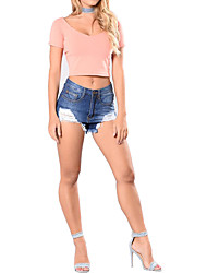 Women's High Rise Micro-elastic Jeans Shorts Pants,Straight Solid