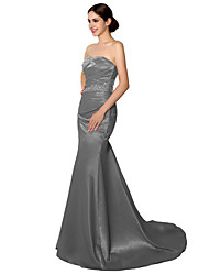 Mermaid / Trumpet Sweetheart Court Train Satin Formal Evening Dress with Beading