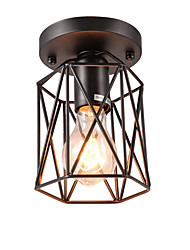 New Vintage 1-Light Black Metal Cage Loft Ceiling Lamp Flush Mount Dining Room Kitchen Bathroom Light Fixture