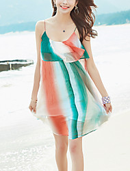 Women's Beach Holiday Boho Loose Slim Chiffon Dress Striped Strap Ruffle Mini Sleeveless Summer Mid Rise Inelastic Thin