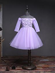 Vestido de menina de flor de joelho com uma linha de joias - mangas compridas de organza fora do ombro com renda