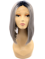 Grey Color Bob Lace Front Synthetic Wigs Straight Hair Heat Resistant Fiber Hair Wig for Woman