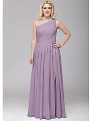 Floor-length Chiffon Bridesmaid Dress - A-line One Shoulder with Sash / Ribbon / Side Draping