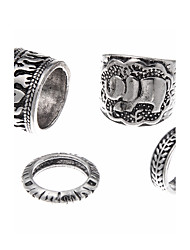 Set de Bijoux Bijoux Original Logo Vintage euroaméricains Bijoux de Luxe Simple Style Forme Géométrique Anneaux Pour 4 piècesCadeaux de