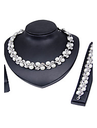 Jewelry Set Euramerican Fashion Classic Imitation Pearl Silver Plated Chrome Geometric 1 Necklace 1 Pair of Earrings 1 Bracelet For