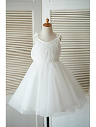 A-line Knee-length Flower Girl Dress - Lace Tulle Straps with Bow(s) Flower(s)