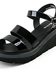 Женские сандалии летний комфорт пу случайные пряжки серебро черный ходьба
