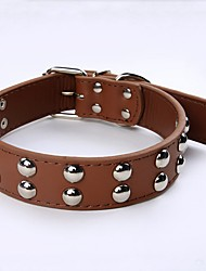 PU Leather Dog Collars Mushroom Rivets Studded Pets Collar for Medium-sized Dogs