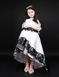Ball Gown Asymmetrical Flower Girl Dress - Organza Jewel with Buttons Lace Ruching