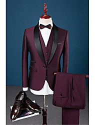 Suits Slim Fit Shawl Collar Single Breasted One-button Solid 3 Pieces Burgundy Straight Flapped
