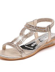 Women's Sandals Spring Summer Fall Club Shoes Gladiator PU Outdoor Office & Career Casual Walking Wedge Heel Rhinestone Silver Gold