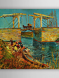 Hand-Painted  The Drawbridge at Arles with a Group of Washerwomen C.1888 by Vincent Van Gogh With Stretcher For Home Decoration Ready to Hang