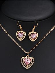 Conjunto de Jóias Colar / Brincos Sets nupcial Jóias Cristal Gema Pingente Amor Coração Casamento Moda Jóias de Luxo Cristal Zircão Strass