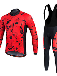 Miloto Cycling Jersey with Bib Tights Men's Unisex Long Sleeve BikeFleece Jackets Jersey Tights Bib Tights Pants/Trousers/Overtrousers