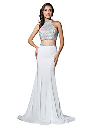 Mermaid / Trumpet Halter Court Train Jersey Formal Evening Dress with Beading
