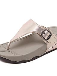 Women's Slippers & Flip-Flops Summer T-Strap Microfibre Casual Wedge Heel Buckle Black Gold