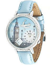 Women's Fashion Watch Quartz / Leather Band Casual Navy LightBlue